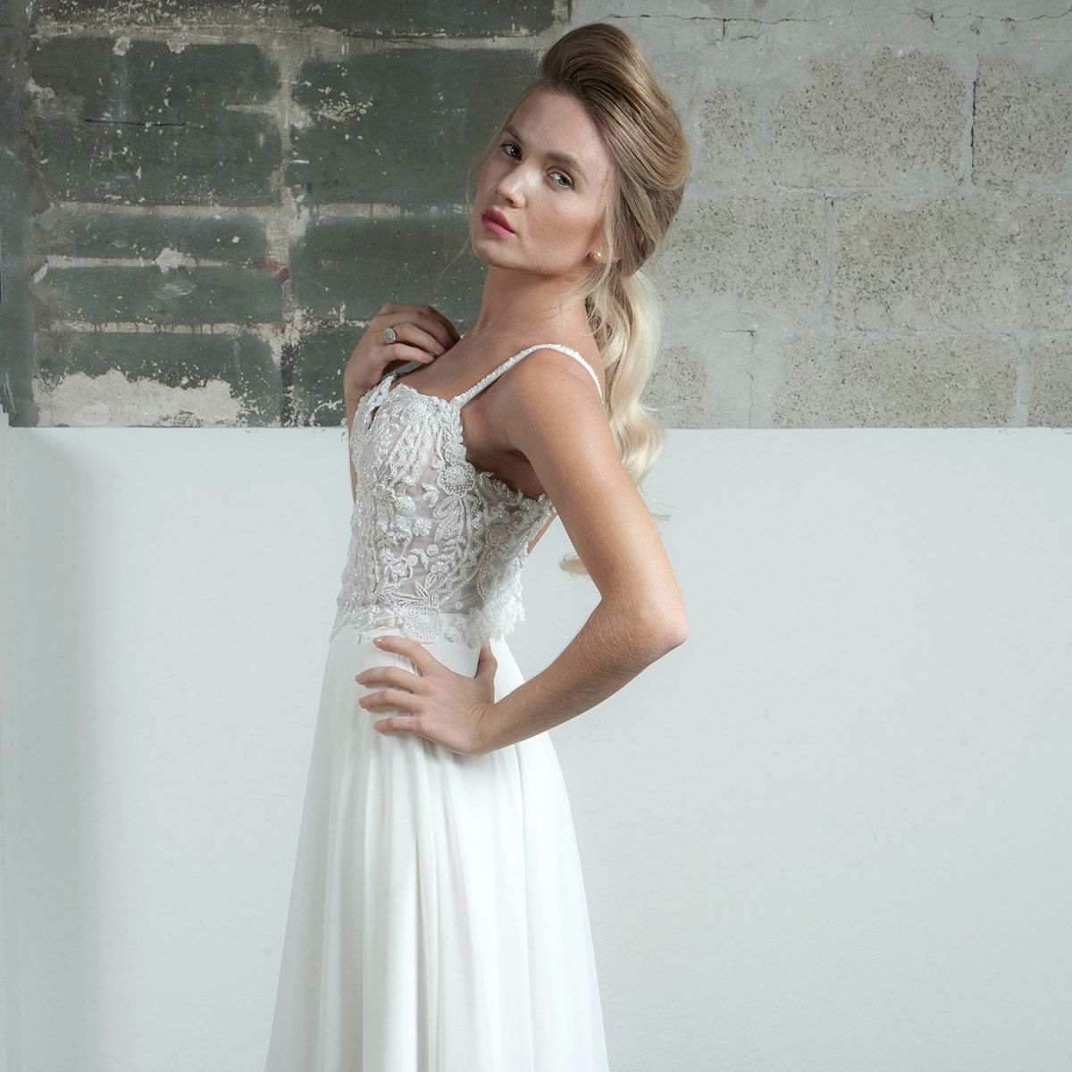 This is it glamorous beaded wedding dress low back beaded by