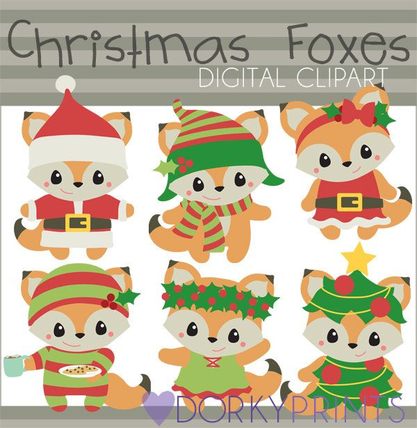 Christmas Clipart Christmas Foxes Personal And Limited Etsy Kawaii Christmas Fox Christmas Christmas Clipart