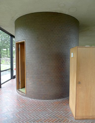 Cylinder Bathroom Side Philip Johnson Glass House Glass House Architecture