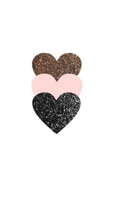 Triple Glitter Heart Phone Wallpaper