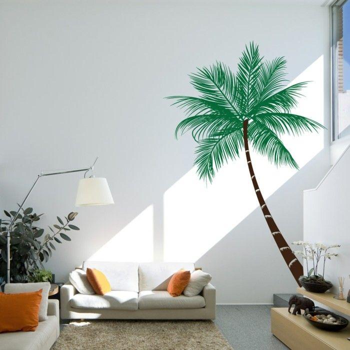 schöne wandtattoos palme wohnzimmer dekoideen orange akzente - wohnzimmer orange beige