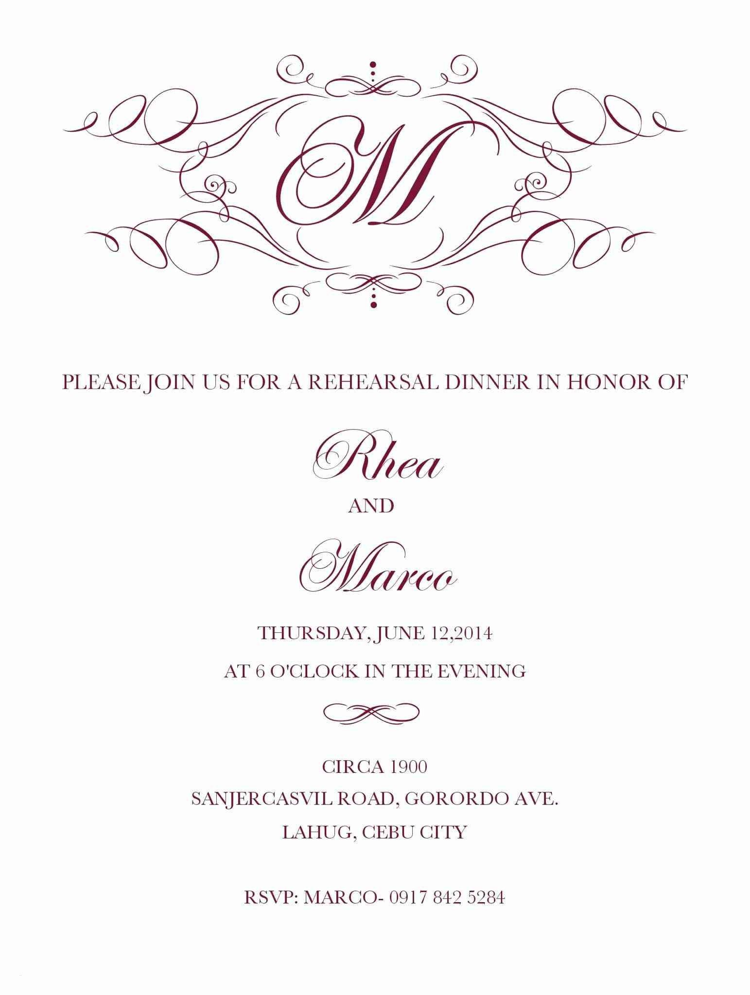 Rehearsal Dinner Invitation Template Word Inspirat in 3  Free