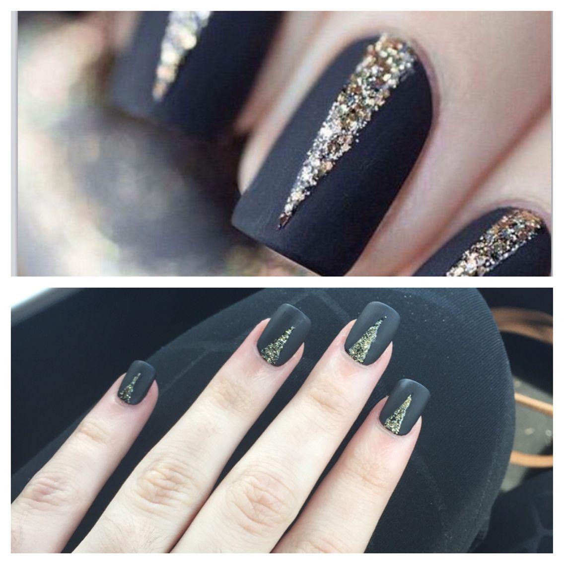 Matte black nails with gold glitter detailing Acrylic, matte, black ...