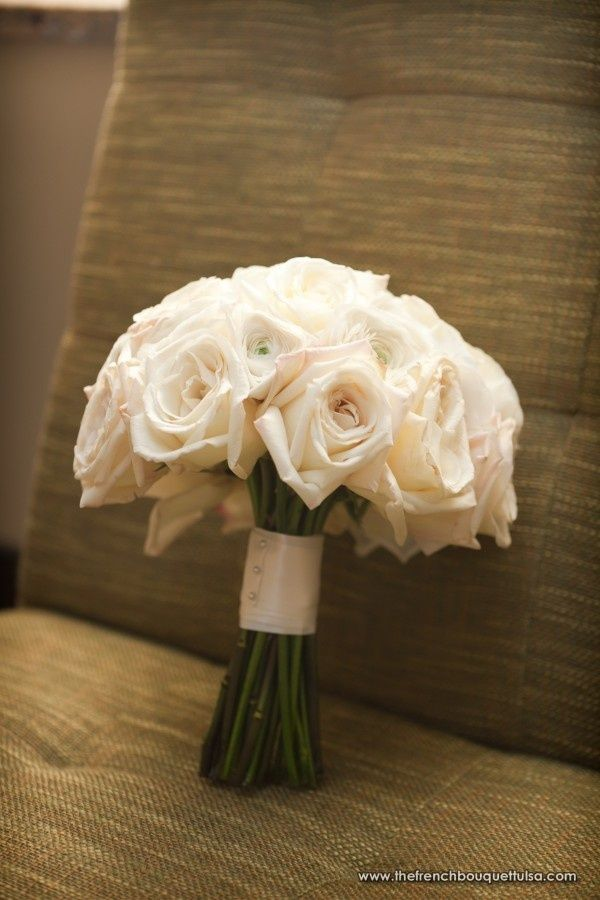 White Garden Rose Bouquet rose bouquet - stems showing, no greenery, wrapped handle. {white