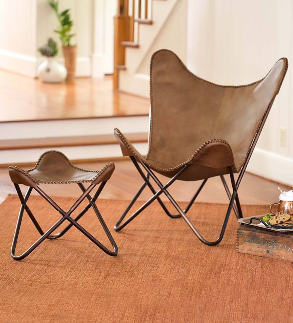 You Ll Feel Like You Re Floating In Our Super Comfy Retro Style Leather Sling Butterfly Chair And Ottoman Bea In 2020 Butterfly Chair Chair And Ottoman Leather Chair