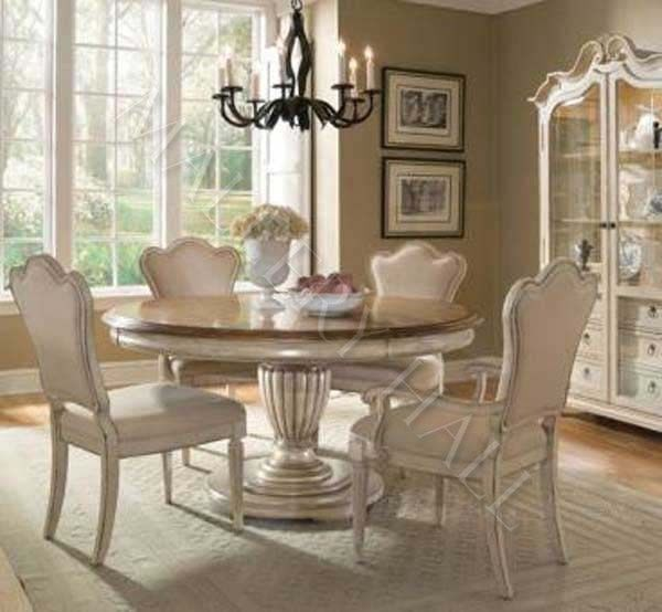 French Country Round Dining Table Upholstered Side Arm Round Dining Room Sets French Country