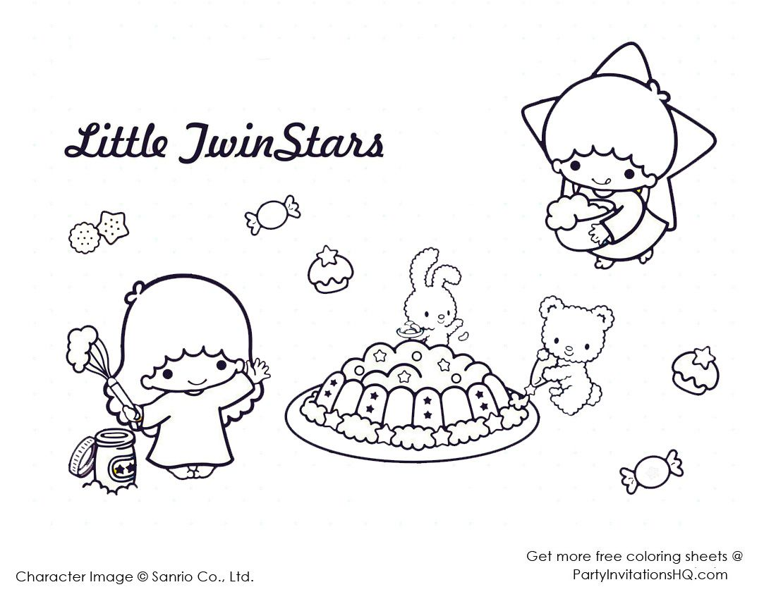 little twin star coloring pages 3 coloring pages cute