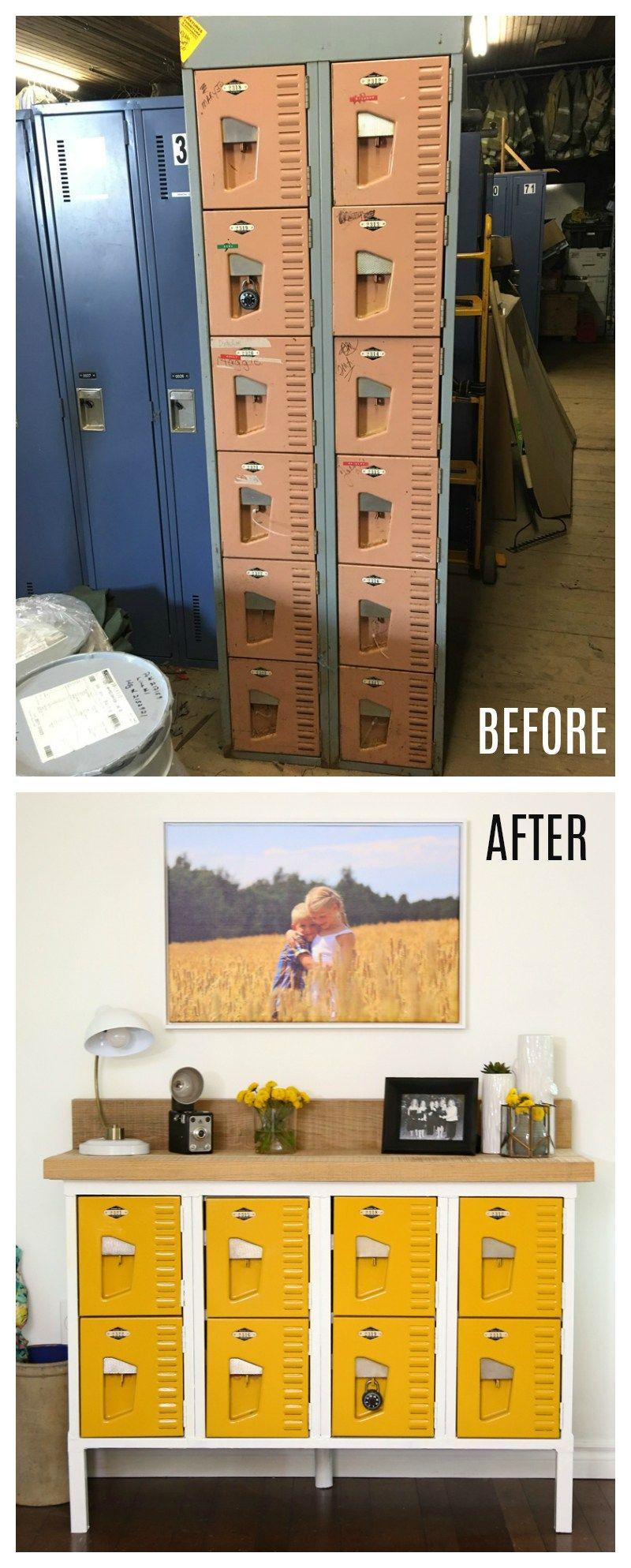 Vintage Locker Console Table   FYNES DESIGNS