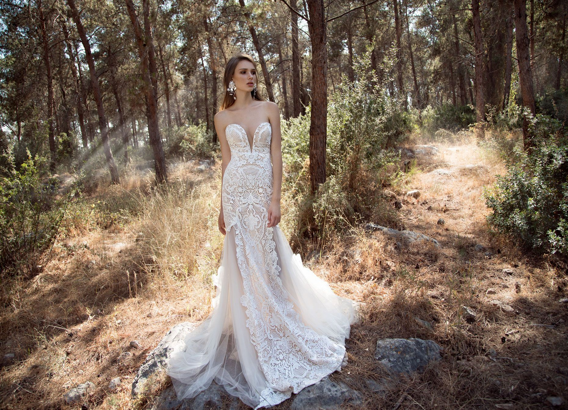 Sheer top wedding dress  Multi layered aline sheer dress with lace on top A strapless gown