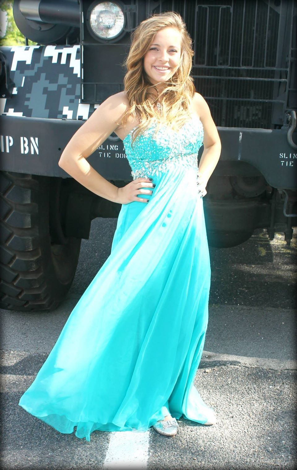 Size 6 long formal turquoise blue prom or homecoming flowy dress ...
