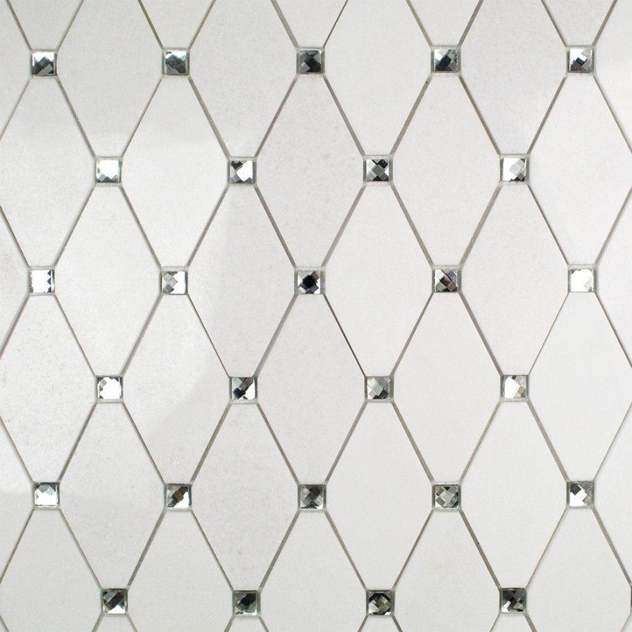 Reflection Diamond White Thassos & Mirror Marble & Glass Tile ...