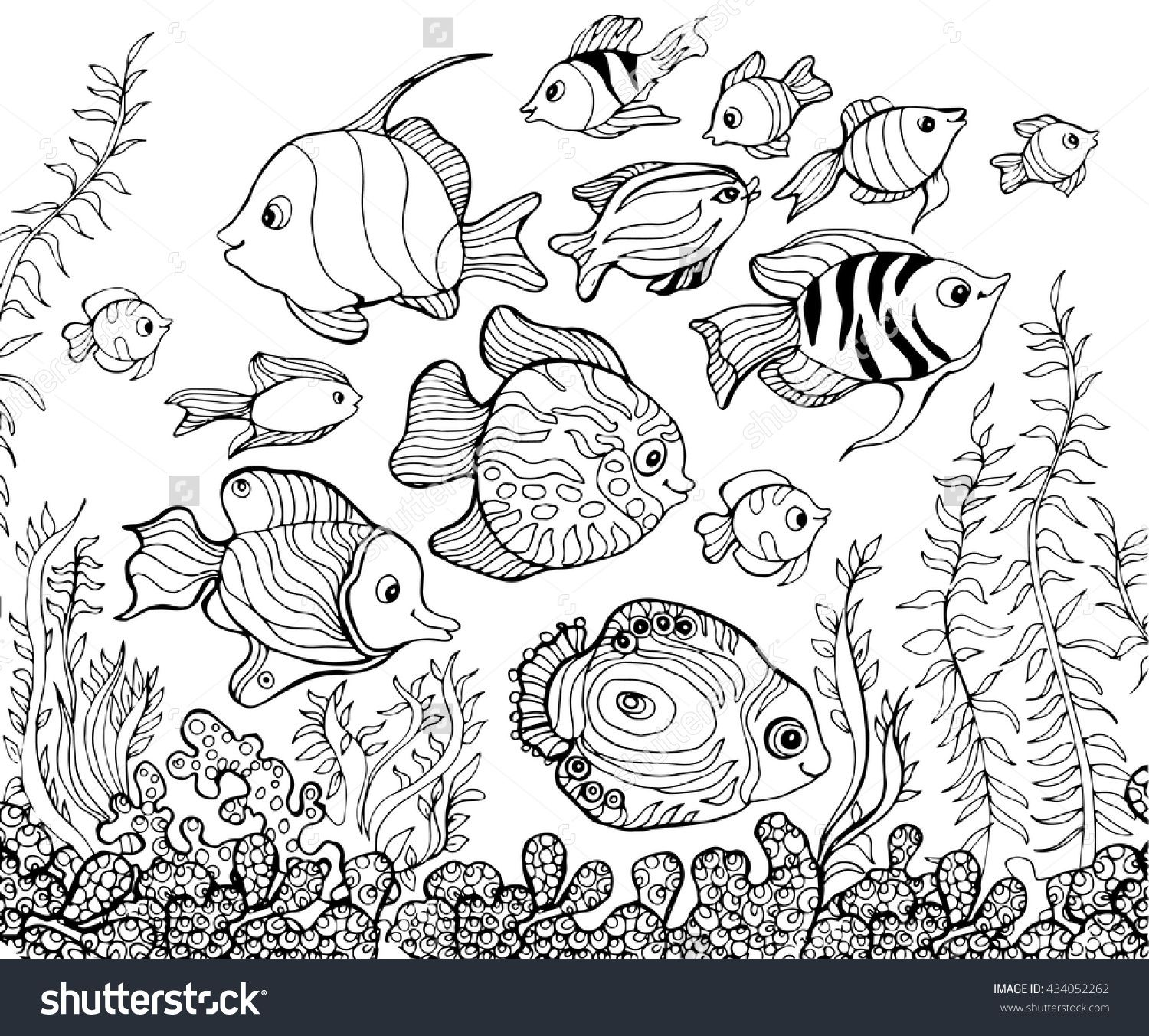 outline drawing, underwater,fish.coloring pages for kids. | Color me ...