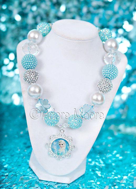 Girl Kids Children Pink Frozen Bead Elsa Dress Bow Necklace Bracelet Set Gift