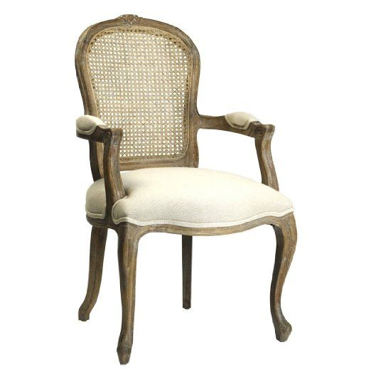Amazon Com Lyon French Country Cane Back Linen Dining Arm Chair