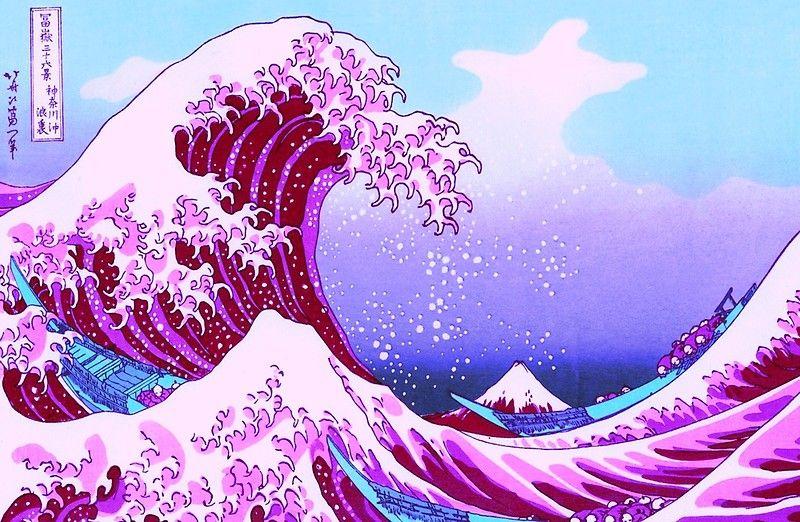 The Great Wave Vaporwave Wallpaper Cute Laptop Wallpaper Desktop Wallpaper Art
