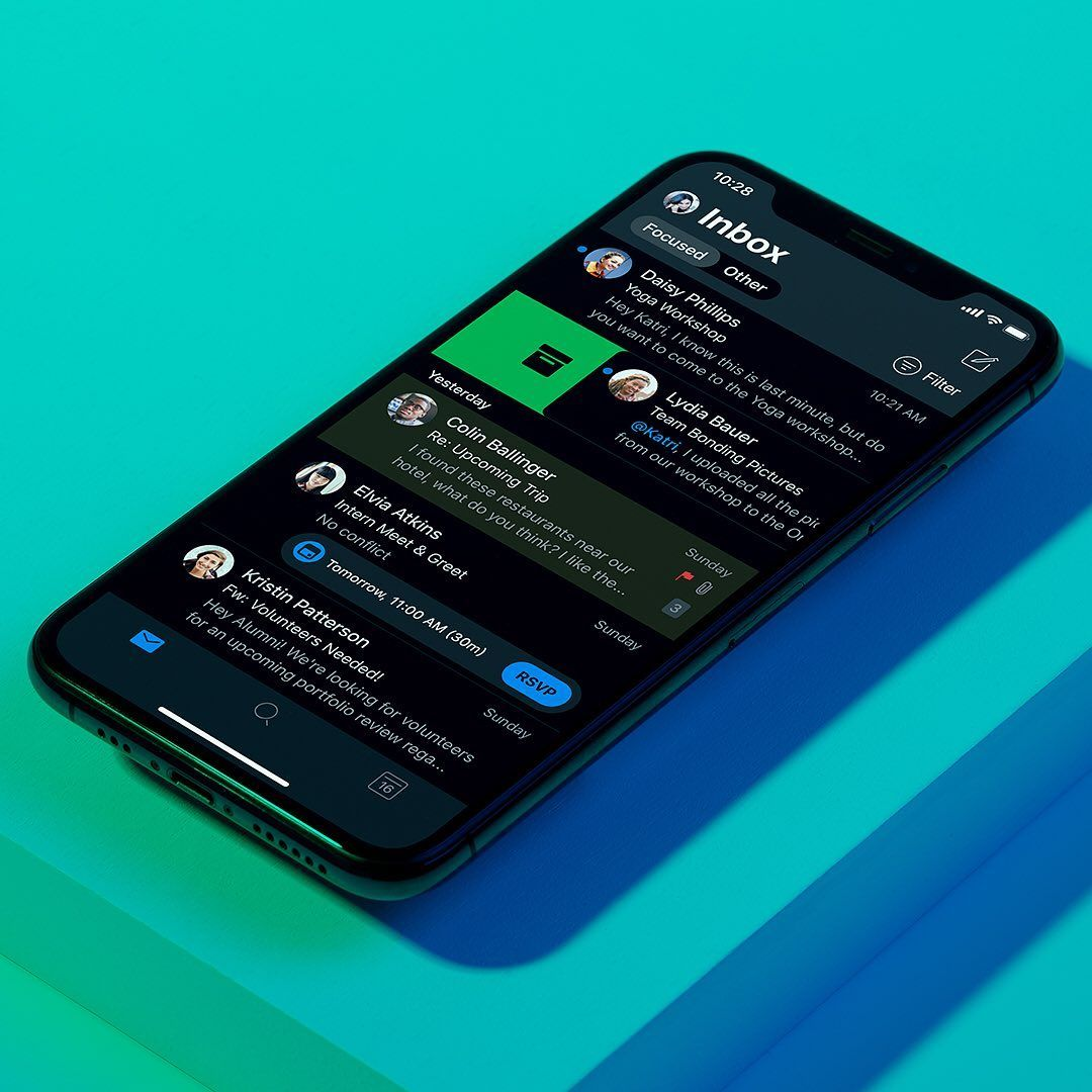 The same app you know and love reimagined. #DarkMode is now available on #Outlook for Android and iOS! Link in Bio.