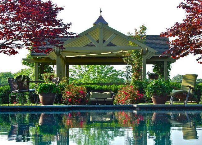 Holz-Pavillon-Garten-mediterran-anlegen Pavillion Pinterest - mediterraner garten anlegen