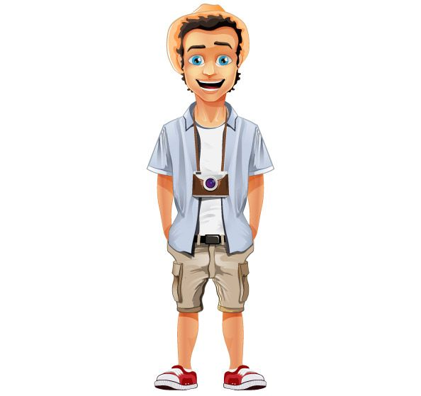 Cartoon Characters Boy : Male vector character with hat and camera that will give