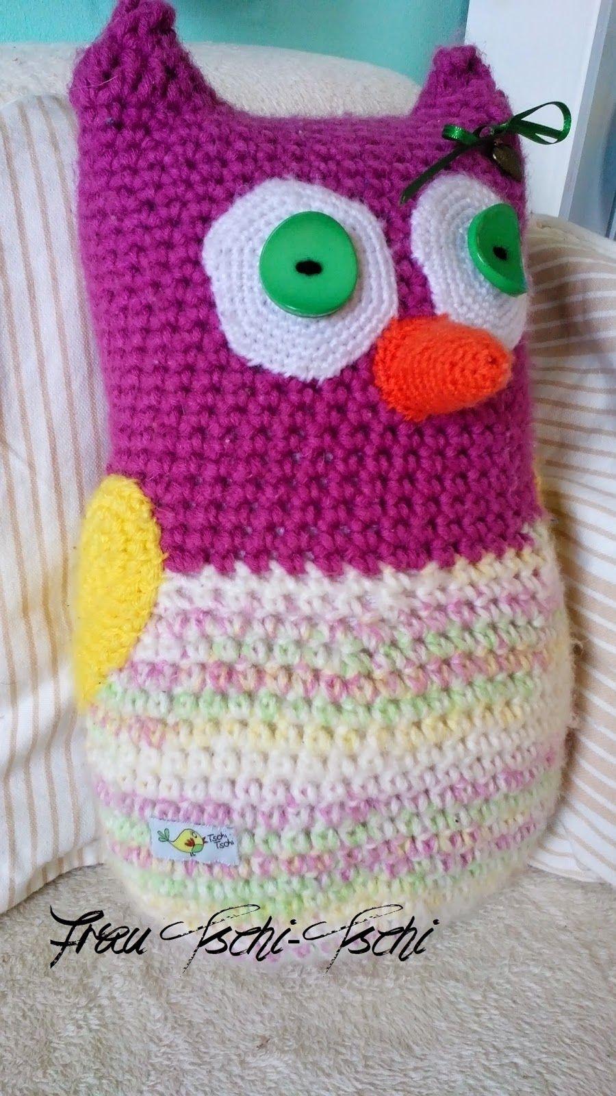 Frau Tschi-Tschi: Eulenkissen Häkelanleitung - crochet pattern free ...