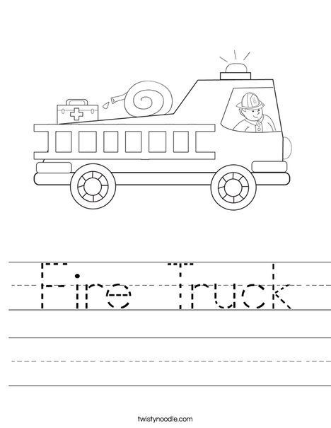 fire truck coloring pages with firefighter worksheet kids preschool pinterest fire. Black Bedroom Furniture Sets. Home Design Ideas