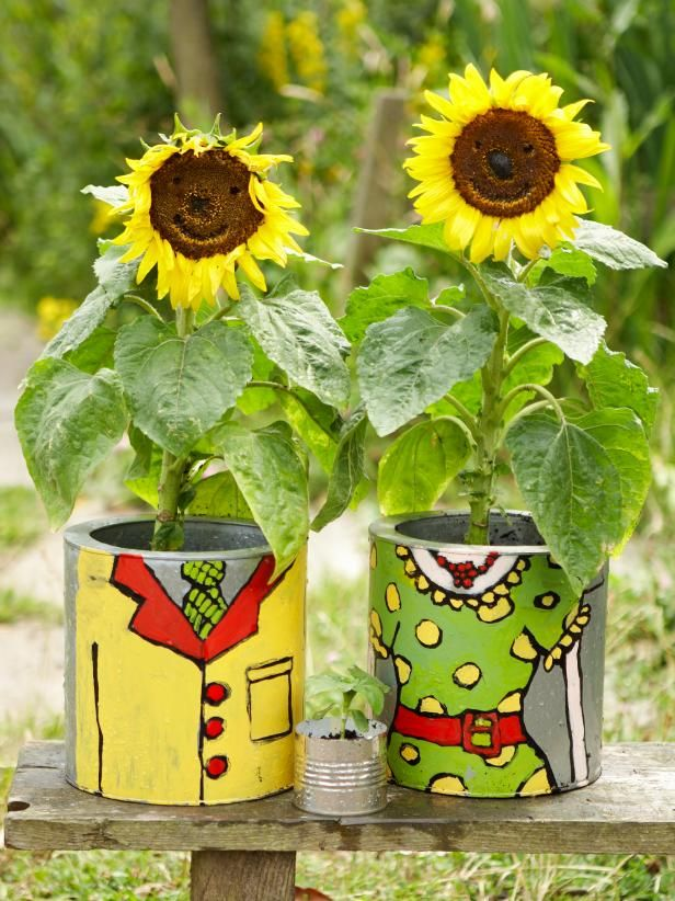 Learn How To Plant Sunflowers In A Whimsical Hand Painted Pot With This Step By From Hgtv