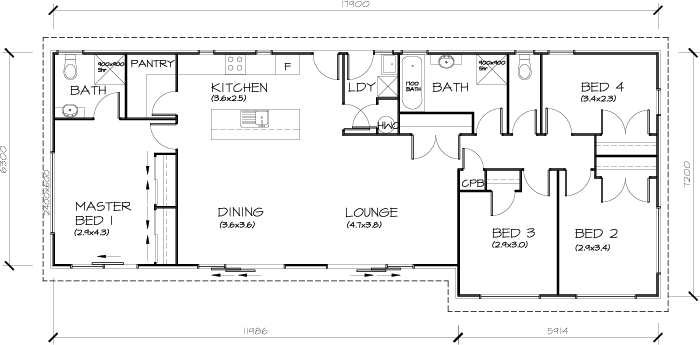 Built Smart PLB122 4 Bedroom Transportable Homes House Plan