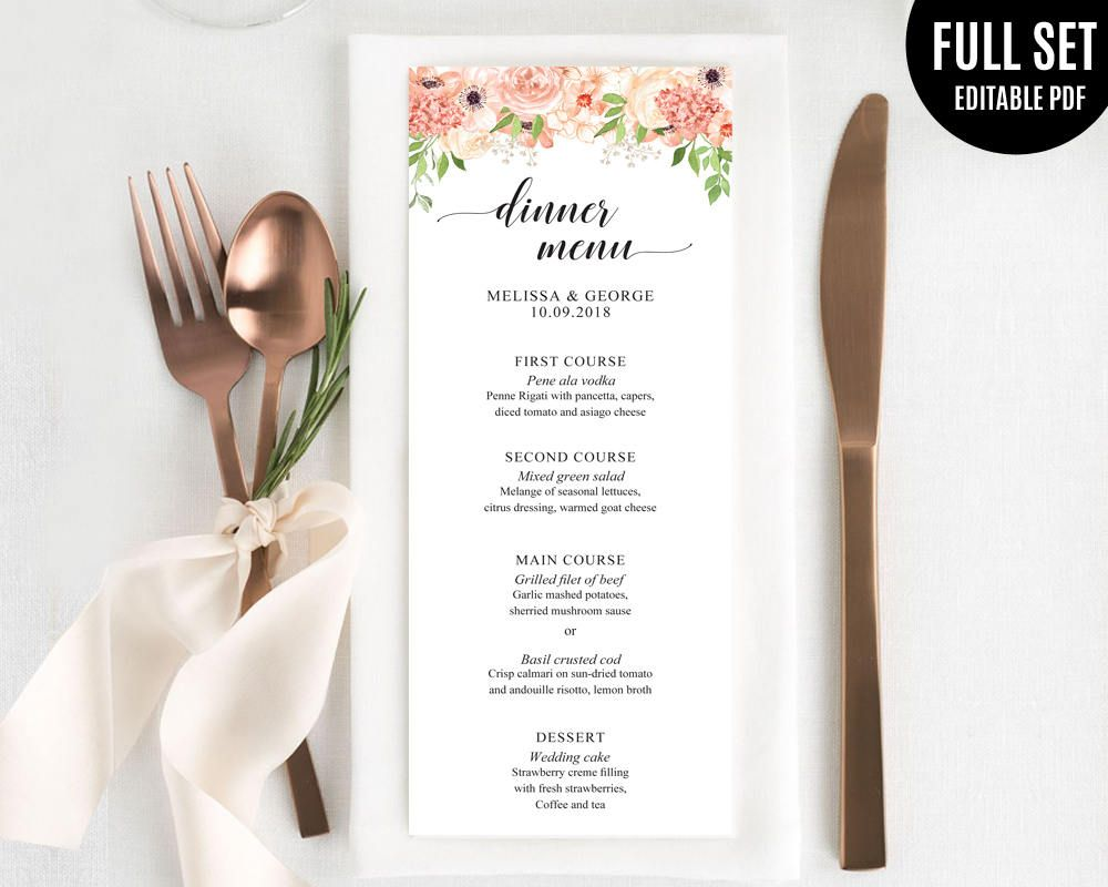 Peach and Creamy Wedding Menu Template. Printable Wedding Menu ...