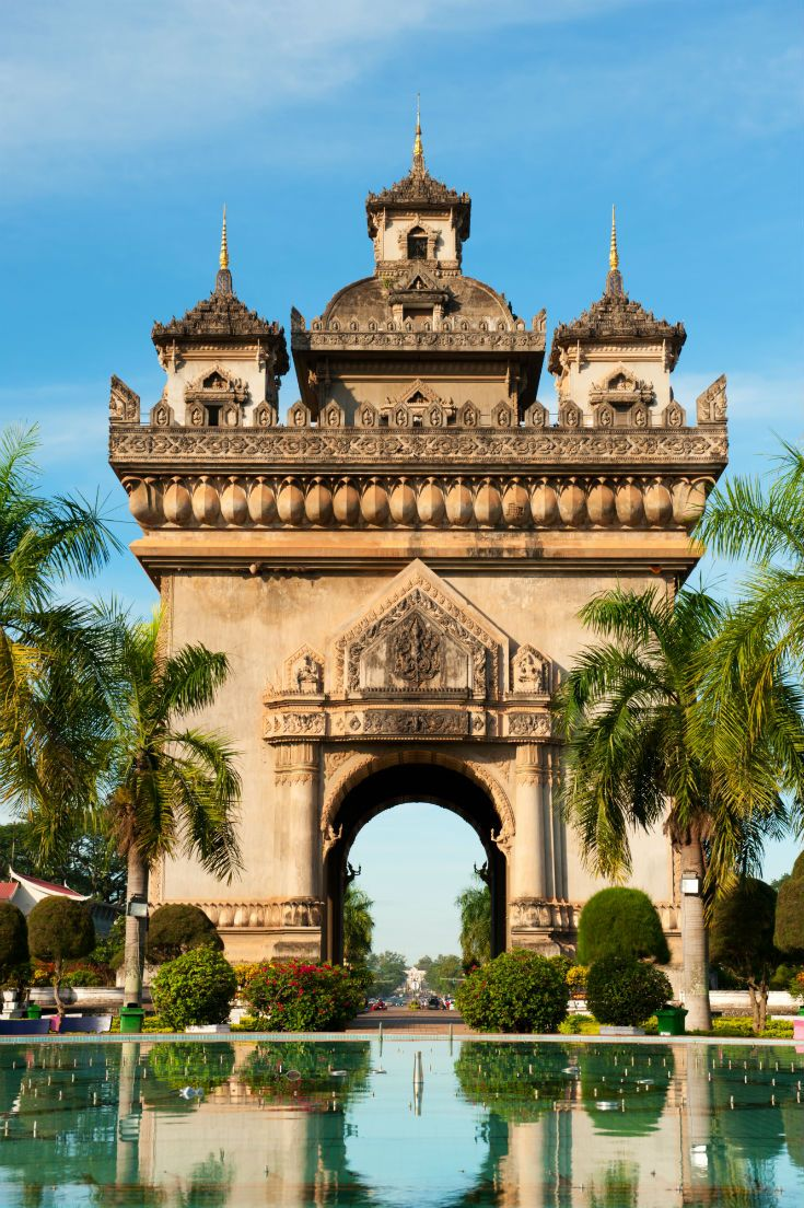 In the centre of Vientiane, Laos, you'll find Patuxai, a war monument dedicated to those who lost their life in the fight for independence. #Laos #Vientiane #FarEast