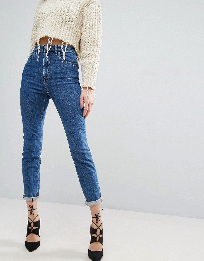 Asos Farleigh High Waist Slim Mom Jeans In Harley Flat Blue Wash