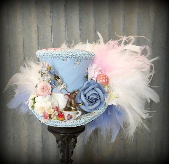Mad Hatter Hat Mini Top Hat Wedding Hat Blue Mini Top Hat Women Top Hat Kentucky Derby Fascinator Hat Fascinator Blue Tea Party Hat