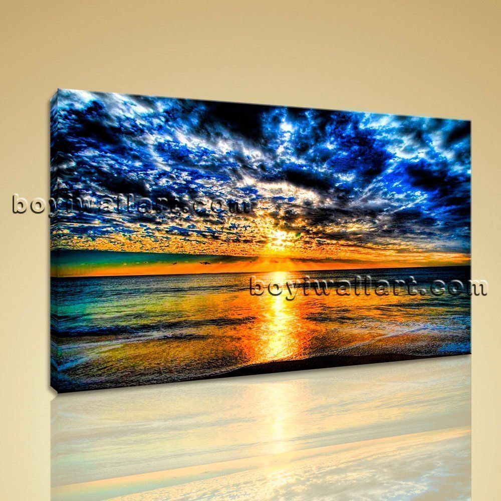 Large contemporary canvas wall art sunset landscape painting hd