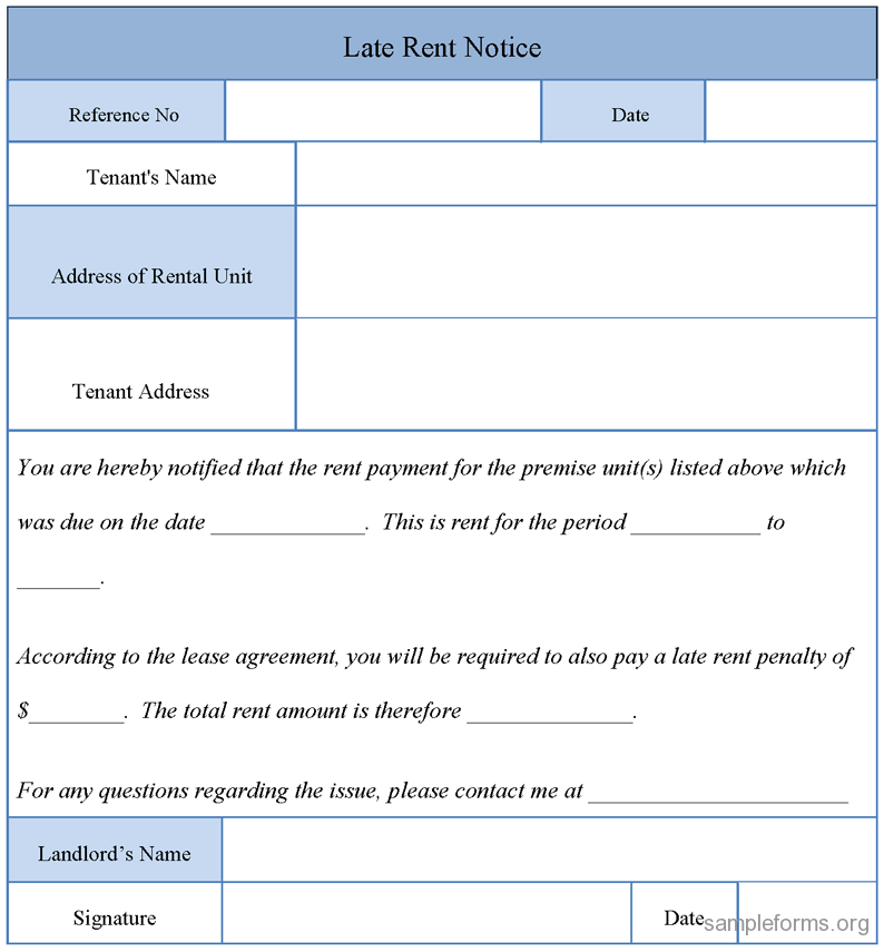 Printable Sample Late Rent Notice Form  Real Estate Forms