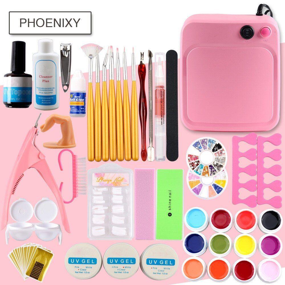 Phoenixy Pro 12pcs Polish With 36w Dryer Lamp Uv Gel Vanishes Nail Art Extension Kit Phoenixy 12pcs Polish Wit Acrylic Nail Kit Nail Kit Nail Art Tool Kit