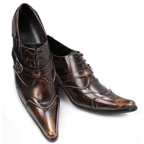 155b0d80b Mens Metallic Bronze Leather Lace Up High Heel Pointy Dress Shoes  SKU-1100274