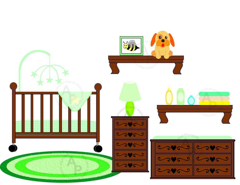 baby unisex neutral nursery crib changing by sunkissedgraphics2 rh pinterest co uk baby boy crib clipart baby girl crib clipart