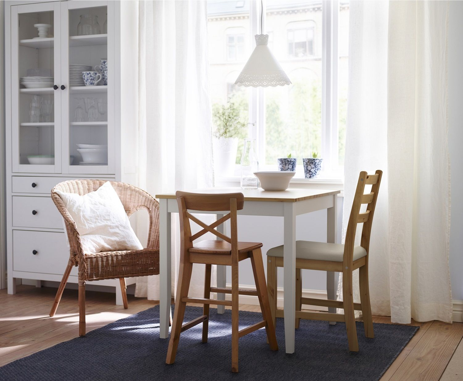 Smallrectanglebreakfastnooktablewithrattanchairbeside Delectable Small Dining Room Sets Ikea Inspiration Design