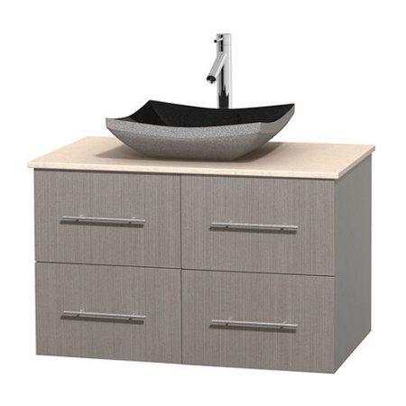 Wyndham Collection Centra 36 inch Single Bathroom Vanity in Gray Oak, Ivory Marble Countertop, Altair Black Granite Sink, and No Mirror, Beige