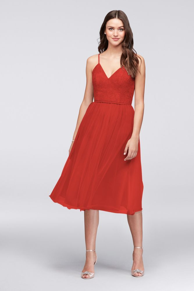 fe260dc62c79 Chantilly Lace and Tulle Short Bridesmaid Dress - Persimmon (Orange ...