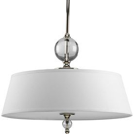 Progress Lighting Fortune 20.25 In W Polished Nickel Pendant Light With  White Shade