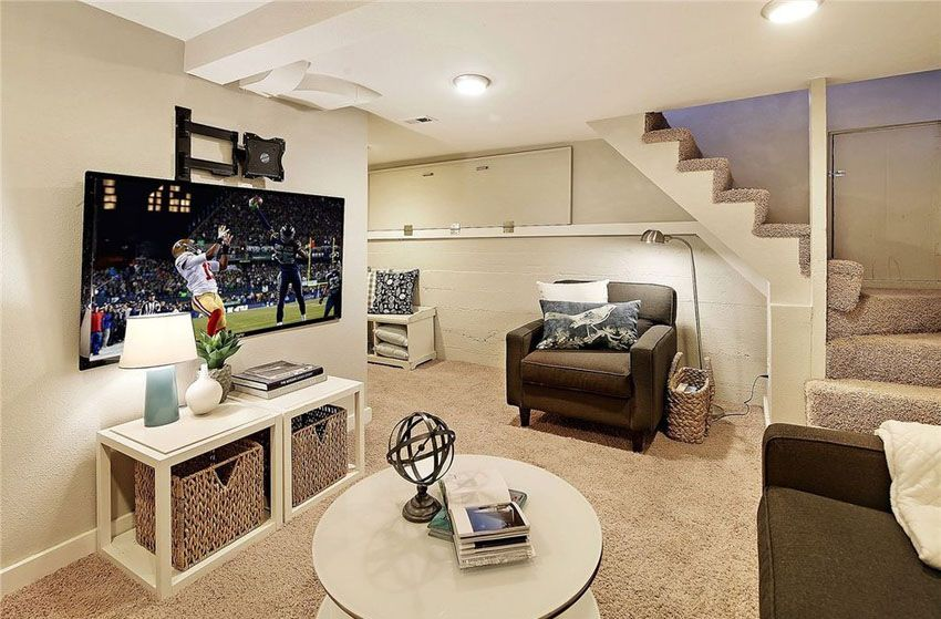 47 Cool Finished Basement Ideas Design Pictures Finishing Basement Small Basements Basement Design