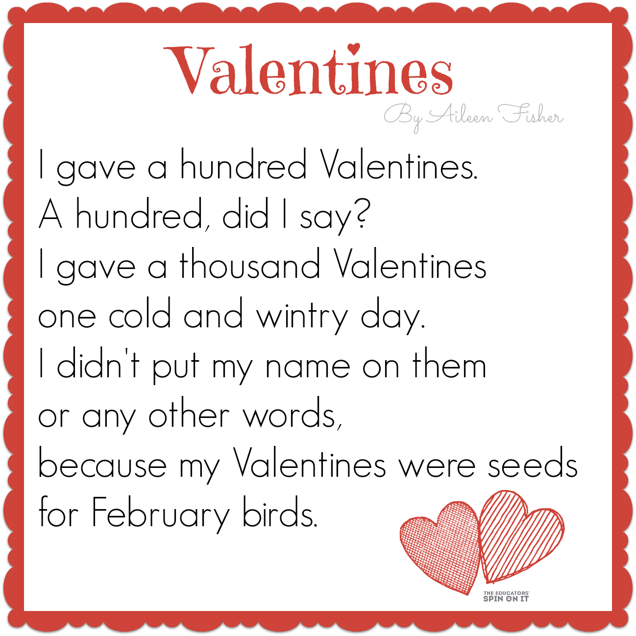 Uncategorized Valentines Poem For Kids 100th day of school activities bird seed crafts poem and spin valentine craftsvalentines poemssmall