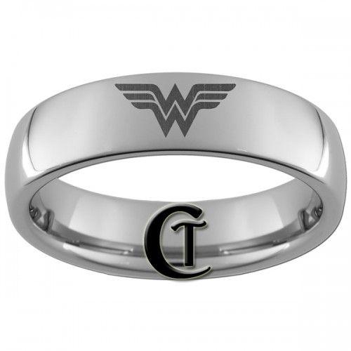 OMG 6mm Dome Tungsten Carbide Laser Wonder Woman Design Ring