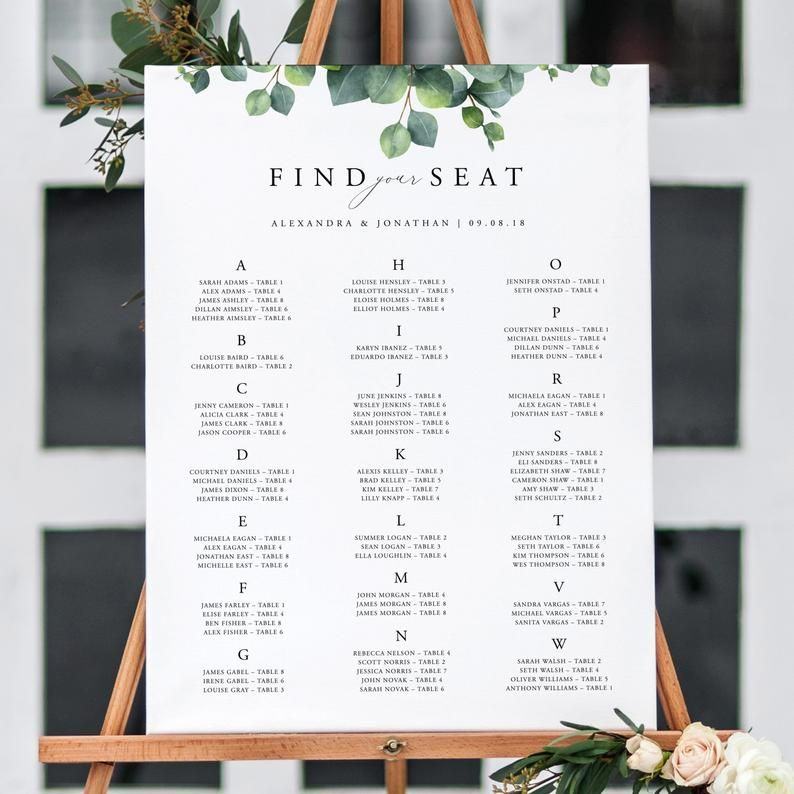 Alphabetical Seating Chart Sign Template Editable