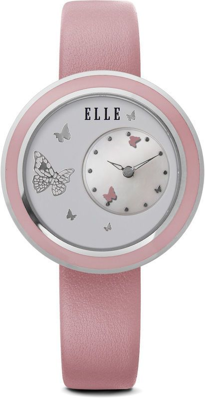 Elle Watch W1336 Butterfly Mother Of Pearl Dial Moving Butterfly Pink Leather