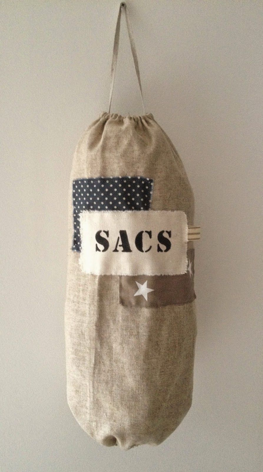 au fil de l 39 r sac en lin avec applique en coton et inscription a pinterest. Black Bedroom Furniture Sets. Home Design Ideas