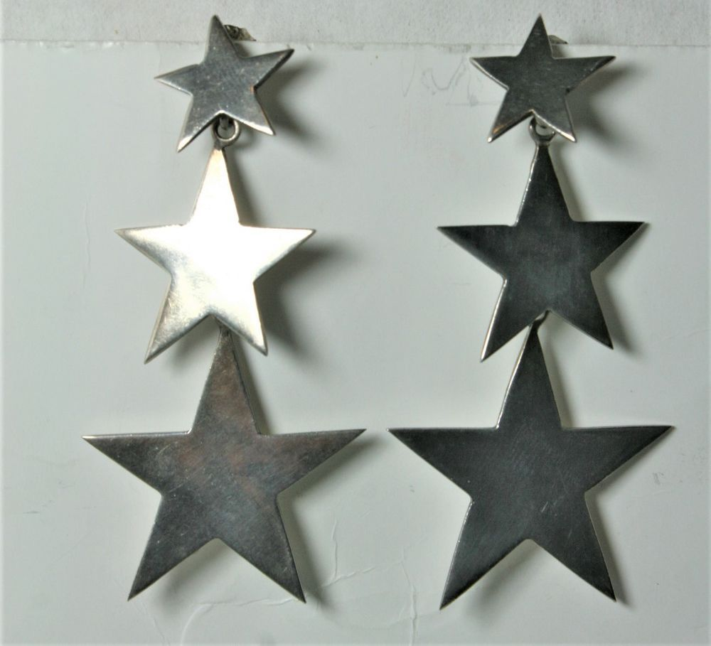 f74b0187ec STERLING SILVER 925 MEXICO GRADUATED STAR EARRINGS 2.5