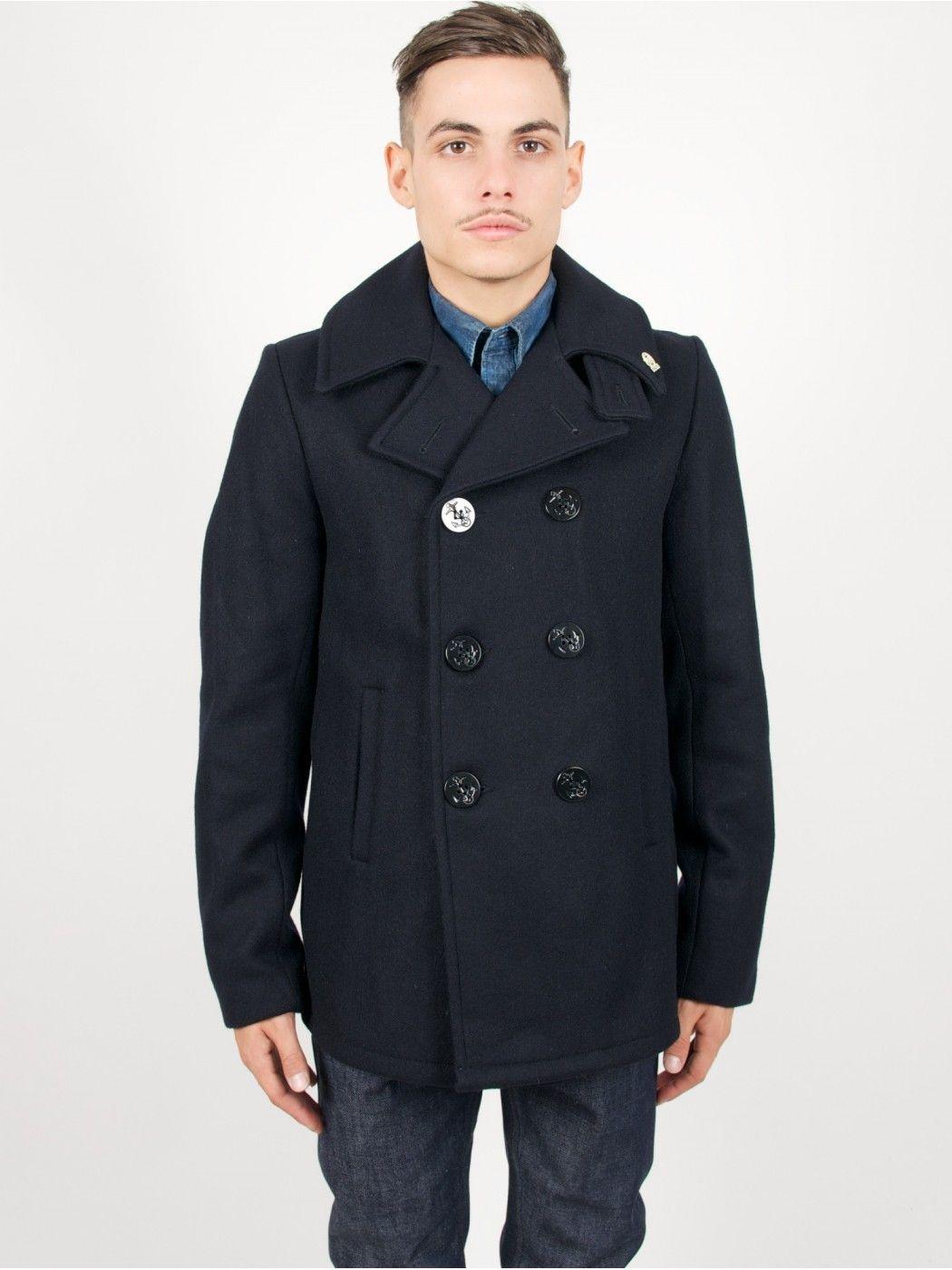 Fidelity Short Peacoat Jacket Wool Dark Navy | Menswear Form and