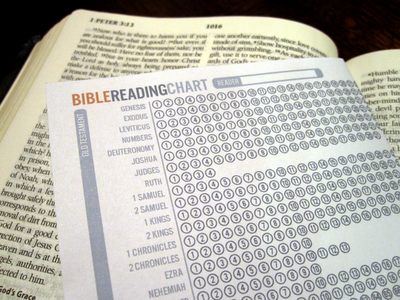 Bible Reading Chart  This folds into a bookmark for your Bible  I