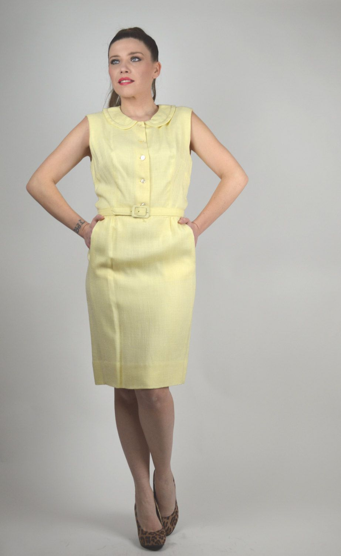Vintage Dress, Yellow Dress, Linen Dress, Peter Pan Collar, Preppy ...