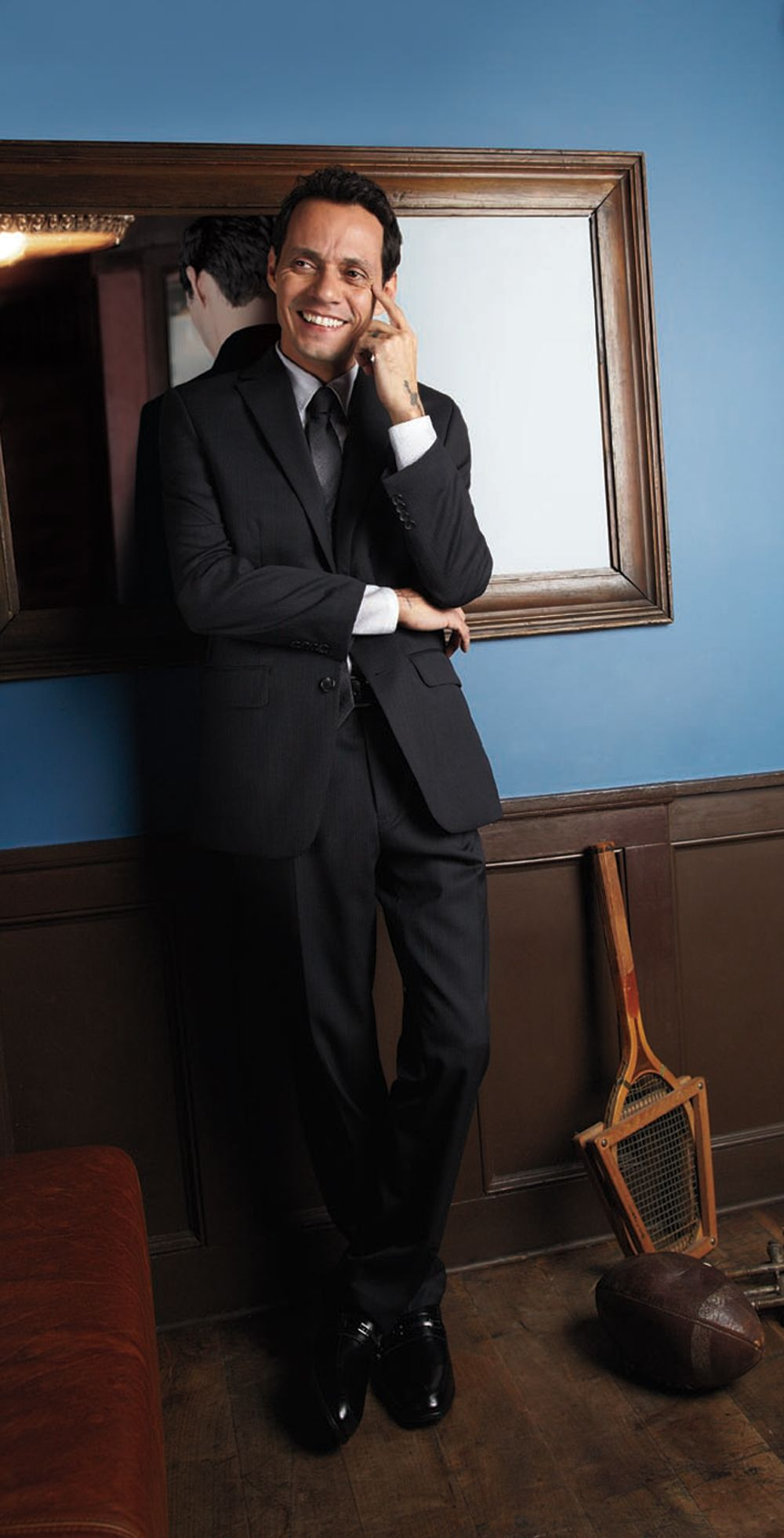 The Marc Anthony collection impresses with its tailored looks ...